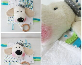 "Flat sensory blanket with ""Mad dog"" toy teething ring 1 age"