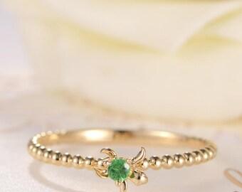 Tsavorite Ring Stacking Ring Eternity Beaded Gold Birthday Gift for Her Animal Inspired Ring Turtle Delicate Green Gemstone Women Promise