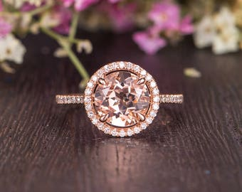 Rose Gold Engagement Ring Rose Gold Antique Morganite Halo Diamond Woman Ring Antique Unique Promise Bridal Half Eternity Gift Claw Prongs