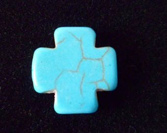2 cross Howlite Turquoise 15 x 15 mm