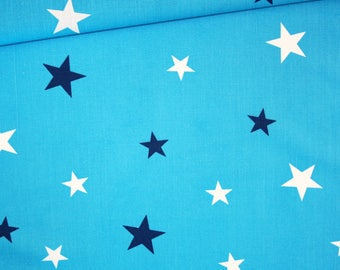 Fabric night of stars, 100% cotton printed 50 x 160 cm, white and dark blue stars on background