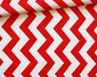 Chevron red bench, 100% cotton fabric printed 50 x 160 cm, zigzag, chevron, red and white pattern