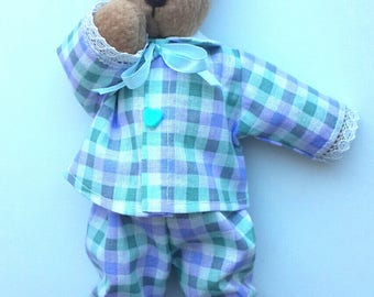 """Teddy bear is sleeping. Hand made. Size 9"""" (23 cm).The pajama is made of 100% cotton. The bear wishes you pleasant dreams."""