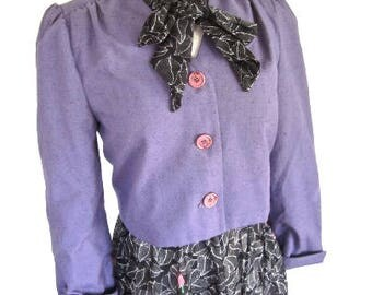 M 70s 80s Purple Cropped Jacket Short Cotton Linen Style Button Front Office Secretary by Bijou II Medium