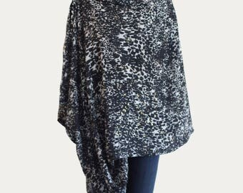 Designer nursing scarf, nursing cover, breastfeeding cover, babyshower gift, black and white with gold specks