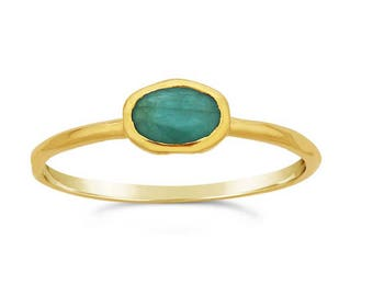 14K Yellow Gold Emerald Ring