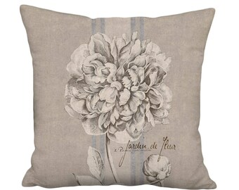 Small Pillow Cover - Pillow - Peony Rustic French Country Farmhouse - 12x12 or 14x14 Inch