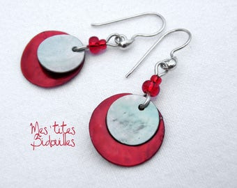 Pearl red and grey earrings 925 sterling silver Pendants.