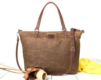Waxed Canvas Crossbody Bag, Waxed Handmade Handbag Women