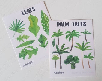 Tropical leafs and Palm Tree stickersheets for planners, journals, bullet journals and stickerlovers!