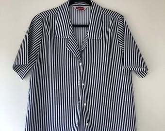 Vintage Navy and White Striped Button-up