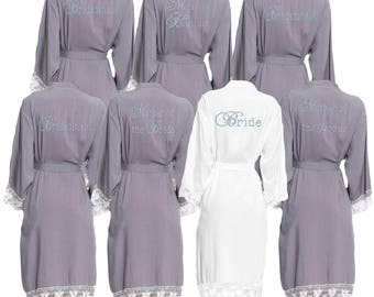 Personalised Grey Lace cuff Diamante Bridal Party Robes - Dressing Gowns - Wedding Robes- Bride - Bridesmaid - Bridal Dressing Gown