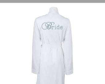 Personalised cotton Wedding Party Robes - Dressing Gowns - Wedding Robes- Bride - Bridesmaid - Diamante Bridal Dressing Gown