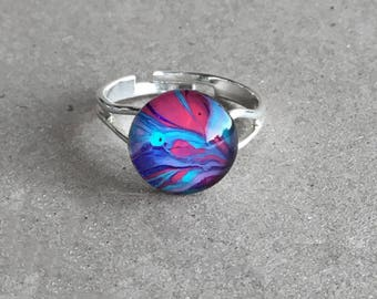 Marble pink blue and purple adjustable ring