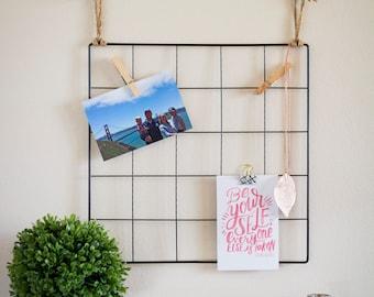 Wire Wall Grid, Photo Display, Dorm Decor, Grid Memo Board, Vision Board, Office Organization, Minimalist Wall Art, Office Decor, Craft Room