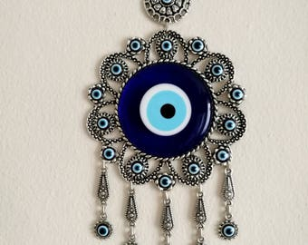 Evil eye wall hanging -evil eye wall decor-Turkish nazar -blue evil  eye- rustic  ornament-  home decoration-gift for housewarming