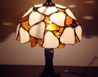 Tiffany Lamp 8'' Leaves with Amber, Desk Lamp, Stained glass lamp, Baltic Amber