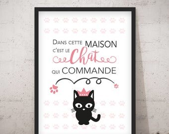 Poster/print - In this House is the cat that controls