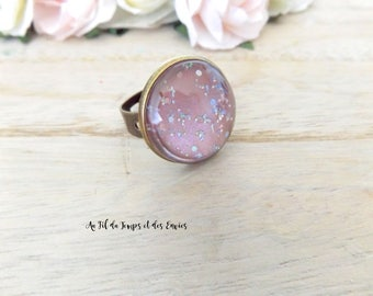 Holographic Cameo Ring Teal pink