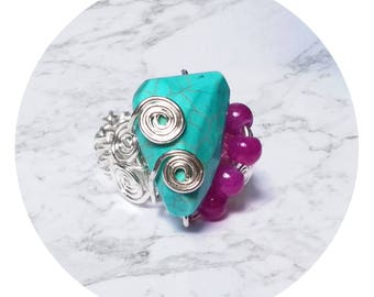 Beautiful silver wire crochet bohemian ring with pink Agate and turquoise, copper jewelry, knitted wire jewelry, silver plated