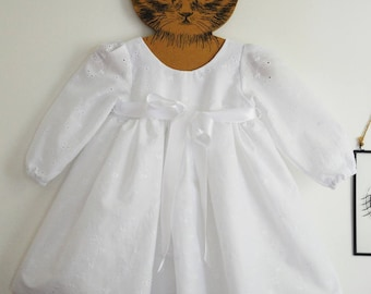 Embroidered christening gown anglaise sleeves long baby