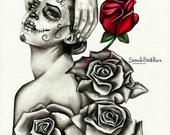 Drawing woman skull Mexican and pink colored pencils and black and white