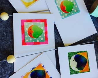 Over the Moon heart motif, handmade greeting/notecards (5 Pack)