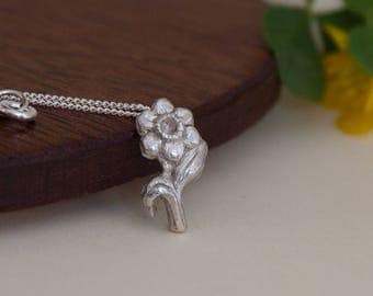 Daffodil Necklace - Silver Daffodil Pendant - Flower Necklace - Solid Silver