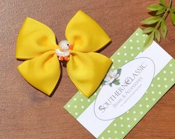 Girls Hair Bow Daffodil Grosgrain Hair Bow, Toddlers, Big Girls, Tweens, Teens
