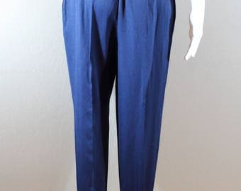 80's Stirrup dress pants/waist 24-25-26/ Navy Blue