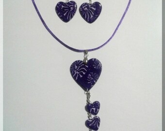 Necklace - Purple geometric patterned heart earrings