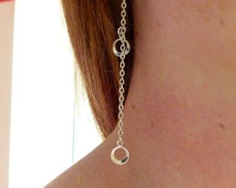 Silver Chain dangly earrings, Silver chain with 2 circles dangle earrings, Silver earrings, Silver chain drop earrings