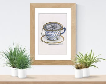 Earl Grey Cat Teacup Printable Art from Lisa Viss Designs
