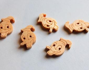x 1 button sewing Scrapbooking Home Decor - Duck duck - wooden