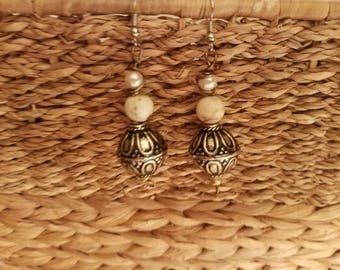 Pearl, stone and silver ball earrings
