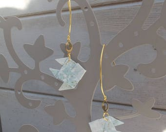 Earrings big hooks gold plated, little gold heart charm and light blue Japanese paper origami fish floral