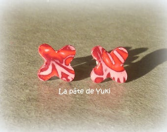 Red clover pink handmade polymer clay earrings