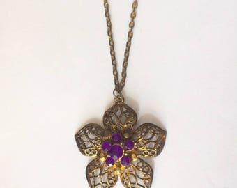 Vintage 1950's Purple Gold Filigree Rhinestone Flower Statement Necklace