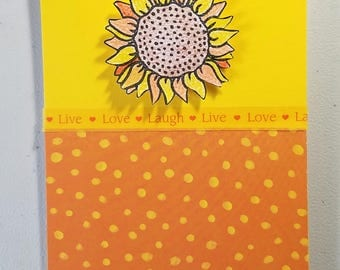 Thank You Handmade Card, Yellow & Orange, Sunflower, Live, Laugh, Love