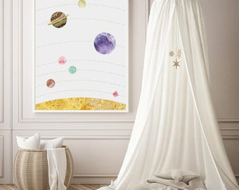 Solar System Wall Art, Space Poster Print, Wanderlust Print, Nursery Wall Art, Planets Poster, Scandinavian Modern Minimalist Decor Large
