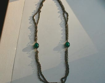 Vintage Antique-Bronzed Chain w/ Green Glass Gems