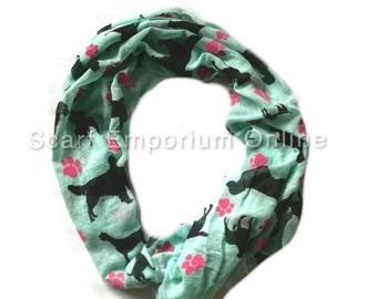 Dog Lover Scarf Mint Green and Pink paws/ Fashion Accessories / Women Scarves / Gifts For Her