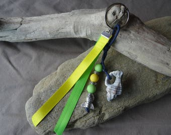 Door keys or bag charm in the Brazil yellow and green color with shell