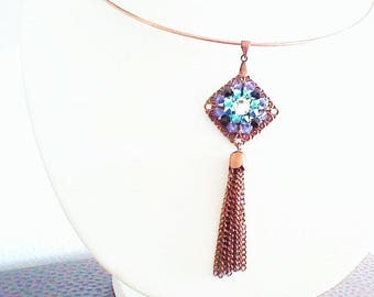 Necklace, pendant, print embroidered with bicones and Crystal Rhinestones, metal color copper.