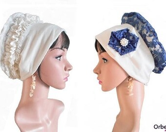 """Chemo REVERSIBLE beret """"Elisa"""" for chic occasion & its removable fabric flower"""