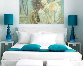Brilliant Wall Painting Ocean Shore Sky Blue Expressionism Wall Hanging Creative Contemporary Style Large Canvas Gallery Art Modern Interior