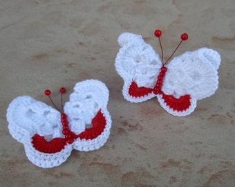 2 red and white butterflies crochet with red beads