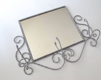 Mirror hanger vintage patinated wrought iron grey and white 50/60 years