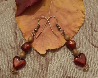 Dainty Red Heart Dangle Earrings