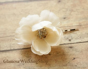 Ivory Flower Wedding Hair Pins Bridal Hair Flowers Wedding Hair Piece Bridesmaid Ivory Hair Flowers Flower Clips Set of 4